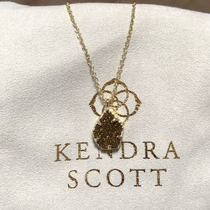 Kendra Scott Dark Rose Gold Drusy pendant Necklace